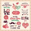 Valentine's day typography, labels and icons elements collection