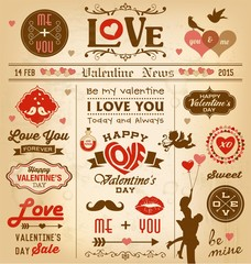 Valentine's day newspaper design elements collection