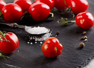Ripe  tomatoes on a  black background