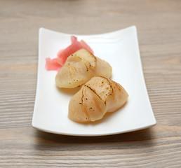 seashell sushi on white plate, Japanese food