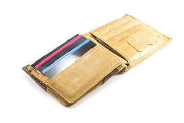 Wallet brown leather with credit card on white background