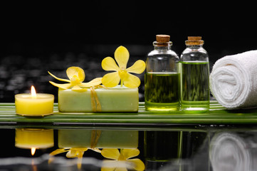 Still life with orchid and candle,soap with row of plant stem