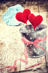 Decorative hearts in retro style