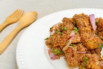 Spicy fried chicken salad