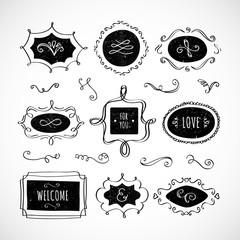 Vintage banners, frames, swirls, curls, design elements