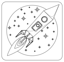 Missile in flight colorless, coloring, vector illustration