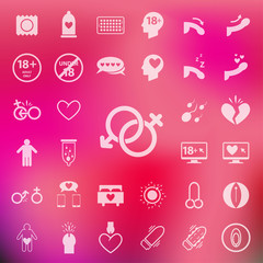 Sex icon set on blur pink background