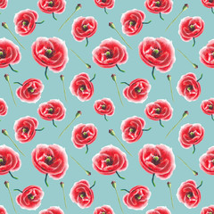 watercolor poppy pattern