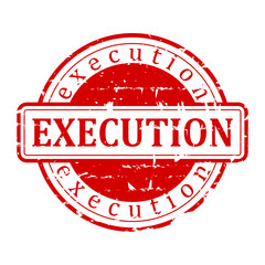 "Damaged red round stamp with the word ""execution"" - vector"