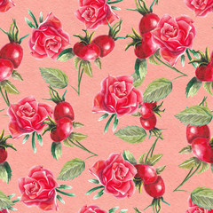 watercolor rose and rosehip pattern