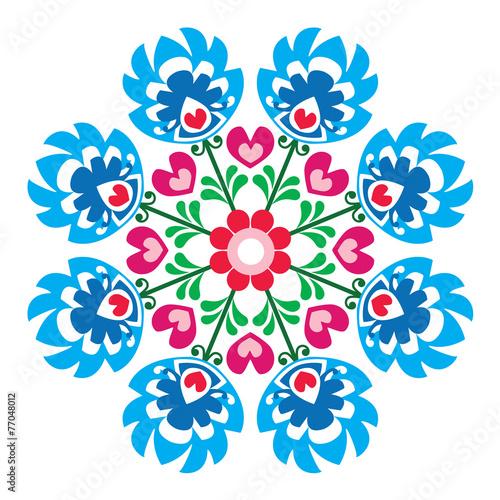 Fototapeta Polish round folk art pattern - Wzory Lowickie, Wycinanka