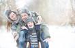 Leinwanddruck Bild - Wintertime Holdiday Family