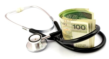 stethoscope and banknotes