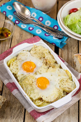 French style potato gratin with cheese and eggs