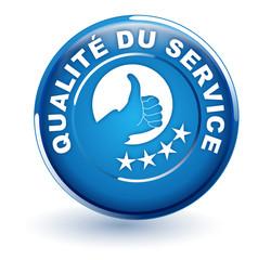 qualité du service sur bouton bleu