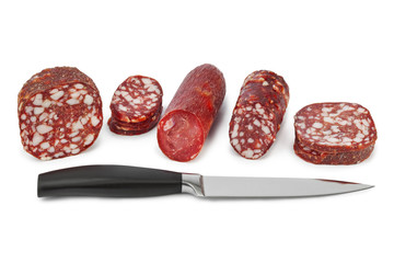 Sliced sausage and knife