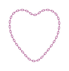 Pink chain in shape of heart