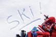 Ski written in snow - 77051677