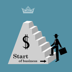 Man climbs the stairs of the pyramid. Start of business