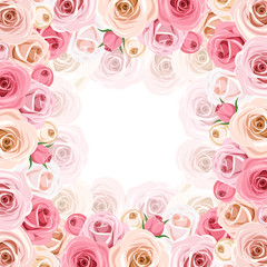 Frame with pink and white roses. Vector eps-10.