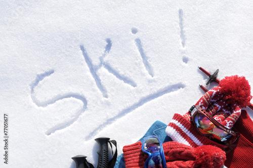 Canvas Wintersporten Ski written in snow