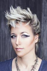 Beauty portrait in punk rock style