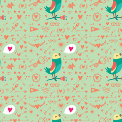 Card bird and hearts pattern