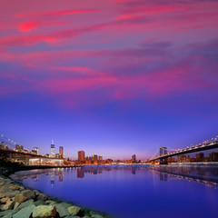 Brooklyn Bridge and Manhattan bridges sunset NY