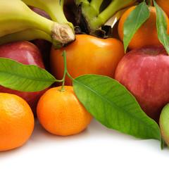 set fruit on white background