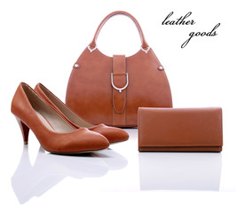 Women's brown leather goods on a white background