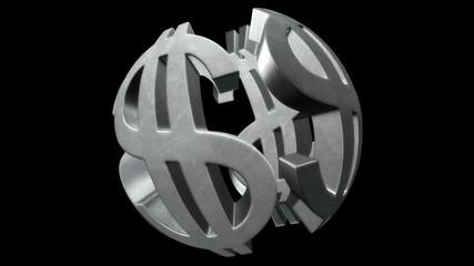 Financial globe.Seamless loop.Alpha matte