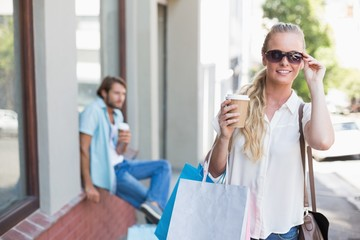 Attractive blonde on a shopping trip