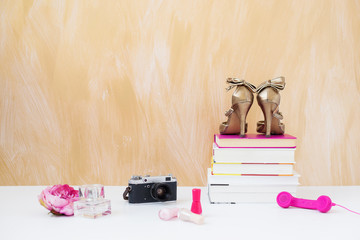 Fashionable and stylish objects on the floor