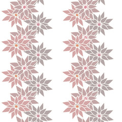 Seamless floral pattern with cute cartoon brown flowers backgrou