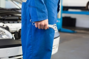Mechanic standing with wrench in hand