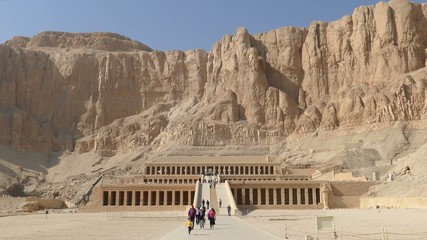 Tourists near famous ancient temple of Hatshepsut in Luxor Egypt