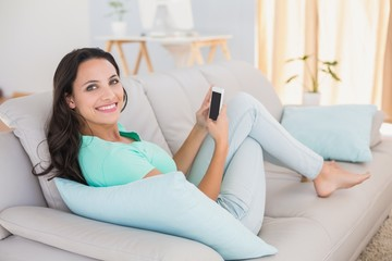 Pretty brunette sending a text on the couch