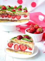 Strawberry cake with banana and chocolate