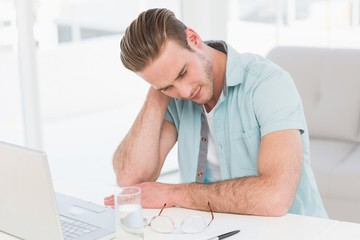 Concentrated casual businessman thinking