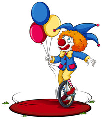 A clown running around in circle