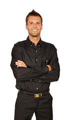 Smiling young man in black shirt standing on white background