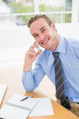Smiling businessman speaking on the phone