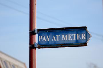 Pay at meter sign
