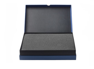 Open Blue Box With Packaging Sponge Foam