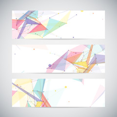 Vector banners set with polygonal abstract shapes, circles