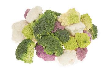 Cauliflower broccoli and roman cabbage heap