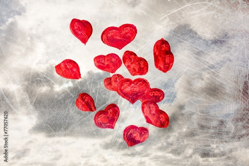 canvas print picture Composite image of heart balloons