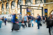 London Train Tube station Blur people movement in rush hour, at - 77058462
