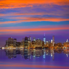 Manhattan sunset skyline New York NYC US