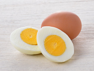 boiled egg isolated on white wood